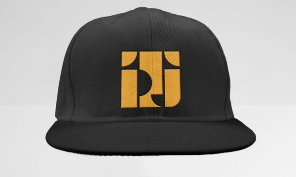 Black Classic Snapback Style with TPJ Logo in Deep Yellow